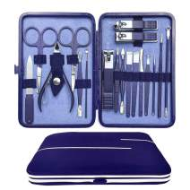 Manicure Set Professional Nail Clippers - 18 in 1 Nail Kit Grooming Kit High Stainless Steel Nail Kit Cutter Nail File Sharp Nail Scissors and Clipper Fingernails with Portable Stylish Case (Blue)
