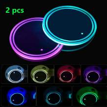 LED Cup Holder Lights, 2pcs LED Car Coasterss with 7 Colors Luminescent Light Cup Pad, USB Charging Cup Mat for Drink Coaster Accessories Interior Decoration Atmosphere Light.