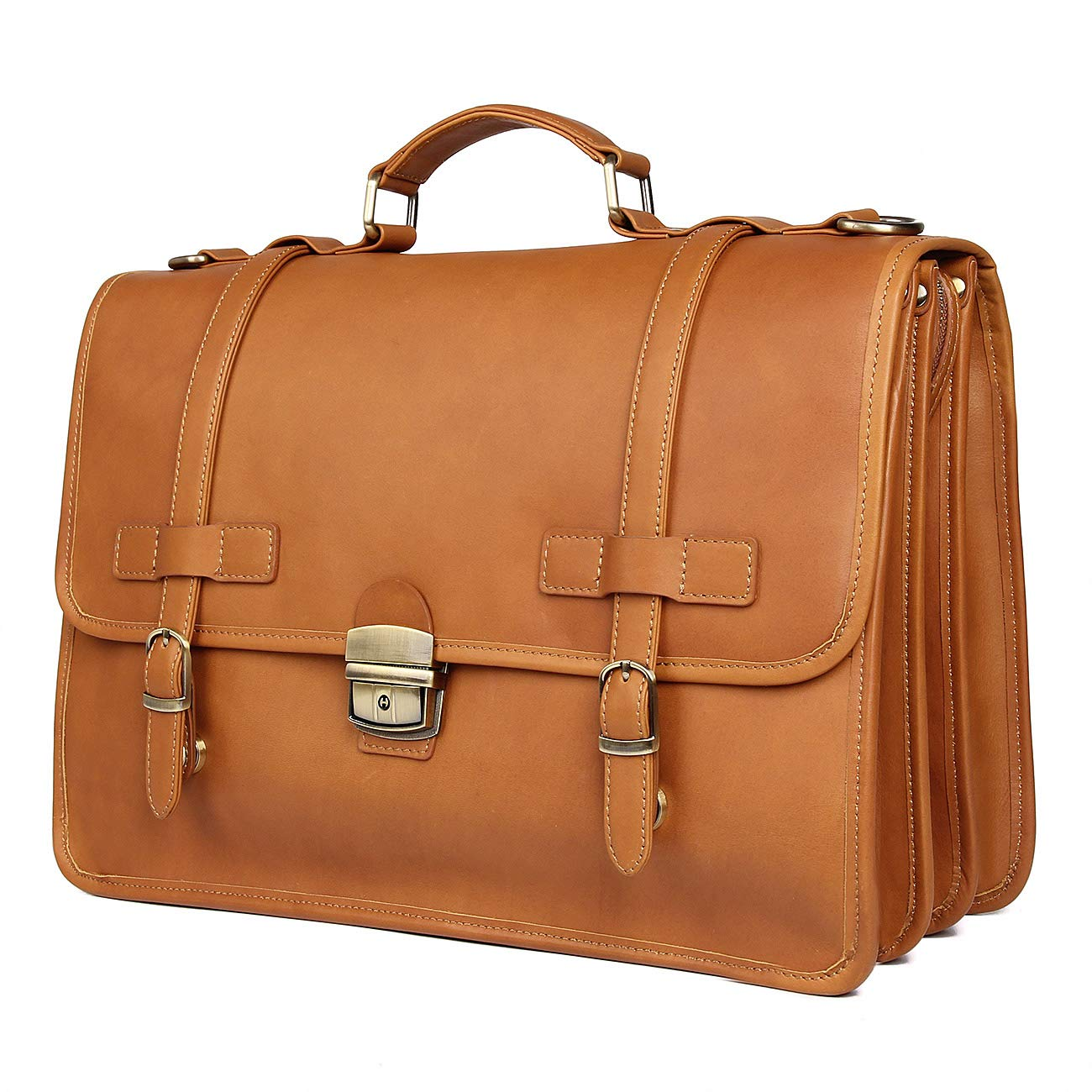 "Polare Men's 15.7"" Cowhide Leather Laptop Briefcase Business Messenger Bag(Brown)"