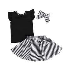 3Pcs Toddler Kids Girls Skirt Set Flare Sleeves Top+Black Striped Skirt Bow Summer Clothes Set