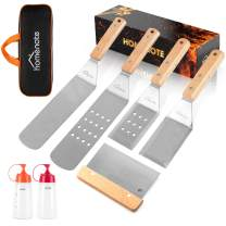 HOMENOTE Griddle Accessories Kit, 7Pc Professional BBQ Kit in Gift Box - Heavy Duty Wooden Handle Stainless Steel Griddle Tool Set Great for Grill Flat Top Cooking Camping
