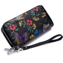 imeetu Long Wallet Purse, Leather Card Holder Case with Wrist Strap(Dragonfly)