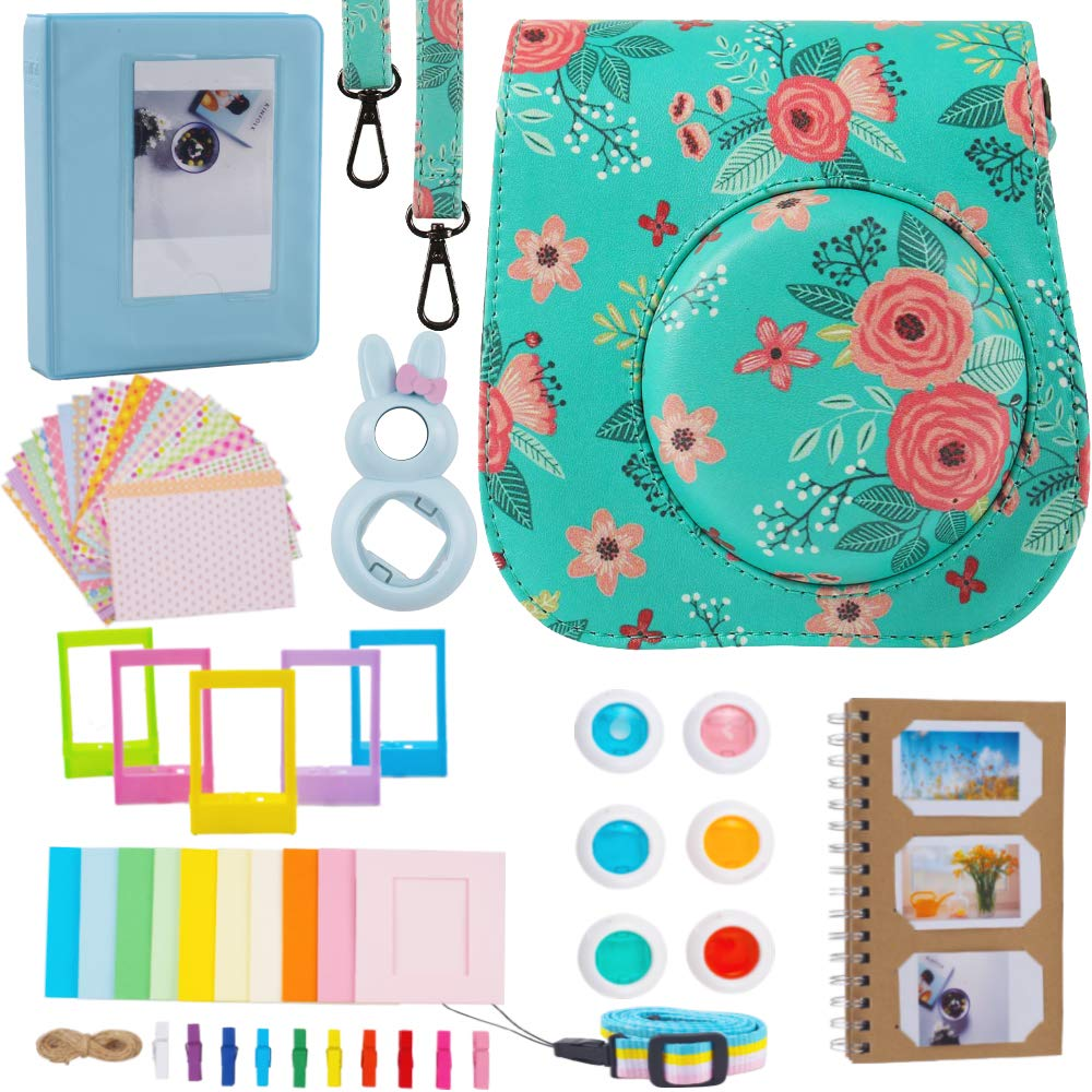 Case & Accessories Compatible with Fujifilm Instax Mini 9/8/8+ Instant Polaroid Film Camera, Bundle Pack Include Albums, Filters, Strap&Other Accessories [Flowers,9 Items Kit] by SAIKA