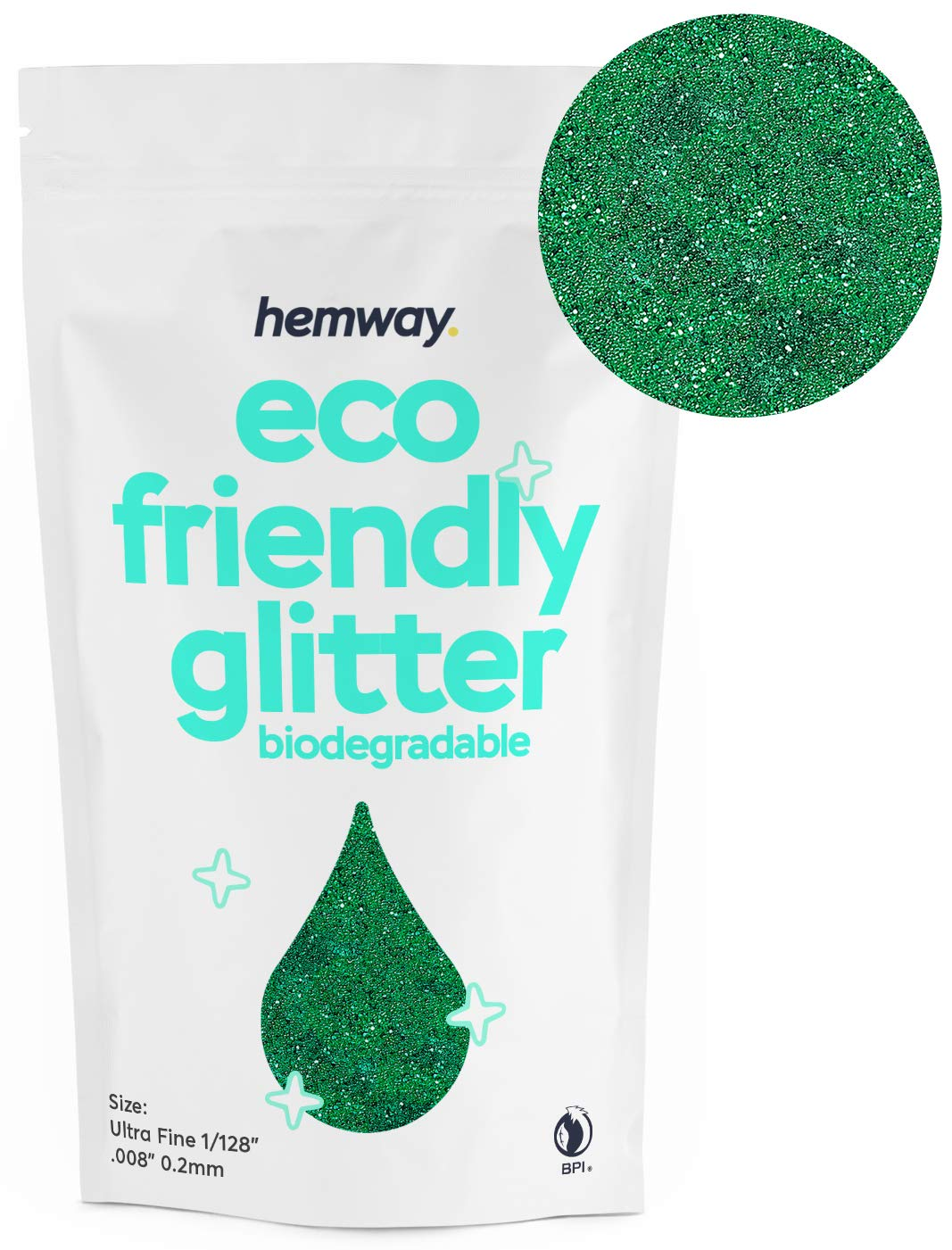 """Hemway Eco Friendly Biodegradable Glitter 100g / 3.5oz Bio Cosmetic Safe Sparkle Vegan for Face, Eyeshadow, Body, Hair, Nail and Festival Makeup, Craft - 1/128"""" 0.008"""" 0.2mm - Emerald Green"""