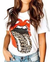 Ferrtye Womens Leopard Tongue T Shirts Cute Graphic Print Short Sleeve Summer Tops Tee