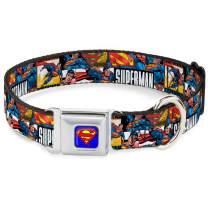 Buckle-Down Seatbelt Buckle Dog Collar - Superman Action Blocks White