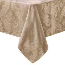 Newbridge Barcelona Luxury Damask Fabric Tablecloth, 100% Polyester, No Iron, Soil Resistant Dining Room, Party Banquet and Holiday Tablecloth, 60 Inch x 84 Inch Oblong/Rectangle, Golden Beige