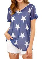 Novia's Choice Women Fluorescence Sheer Mesh Top See Through Short Sleeve Cover Up T-Shirt(Navy Blue Star M)