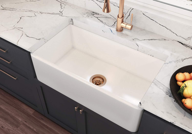 Venezia 33 Inch Fireclay Kitchen Sink, Reversible Apron Front Farm Sink