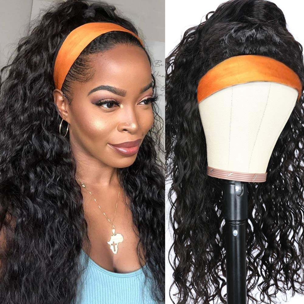 UNice Hair Water Wave Headband Wig Human Hair Glueless Wig None Lace Front Wig Brazilian Virgin Hair Natural Color for Black Women 150% Density 20Inch