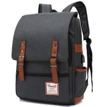 Vintage Laptop Backpack for Women Men, 15.6inch USB College School Bookbag Black