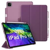 """CaseBot Case for iPad Pro 11"""" 2020/2018 with Pencil Holder [Supports 2nd Gen Pencil Charging] - SlimShell Lightweight Translucent Frosted Stand Back Cover with Auto Wake/Sleep, Purple"""