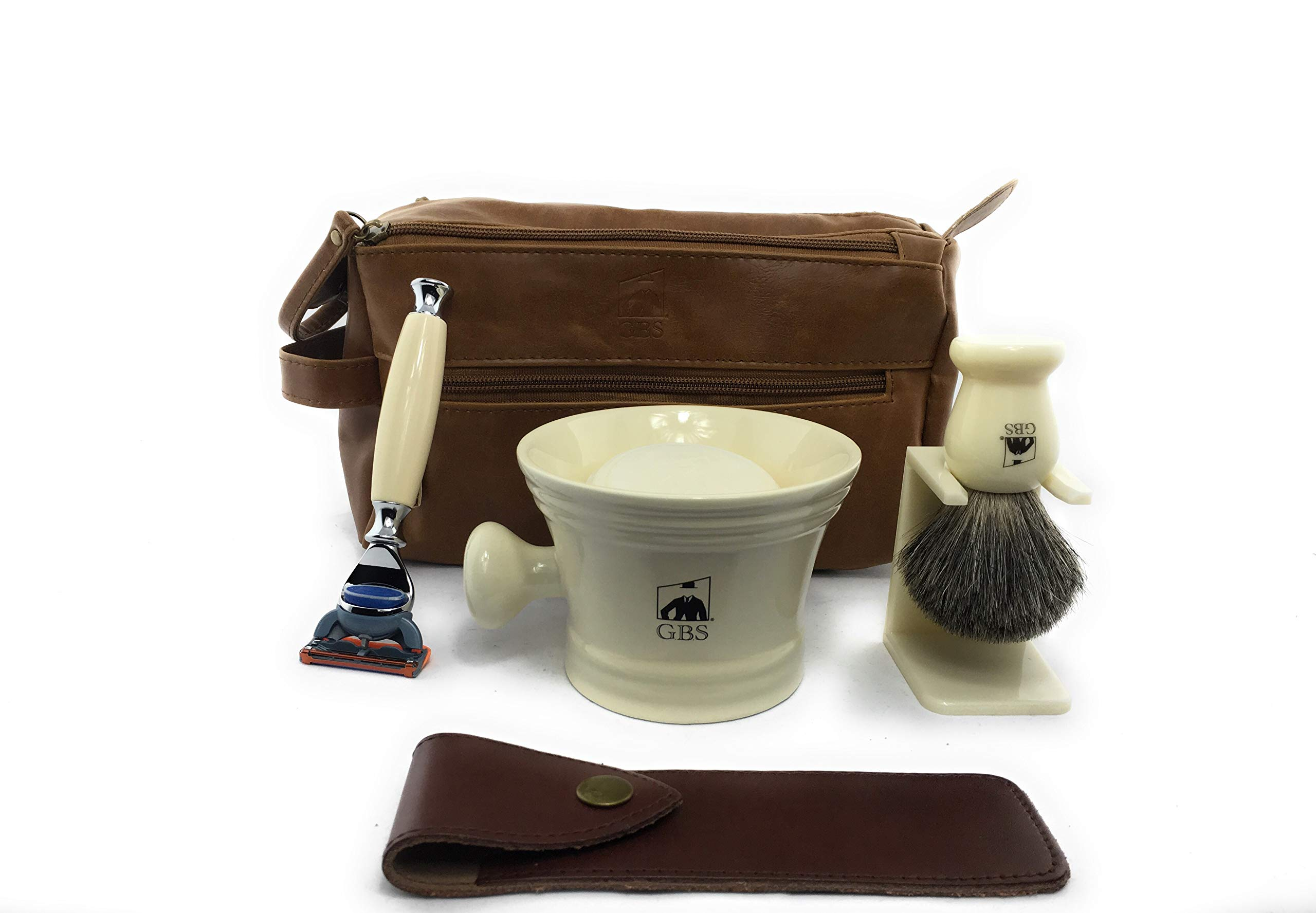 "GBS Men's Deluxe Grooming Set Dopp Kit Ivory Compatible w/ 5 Blade Razor & Case, Badger Bristle Brush Stand 4.5"" Diameter Ceramic Mug Toiletry Travel Bag + Natural Glycerin Shave Soap"