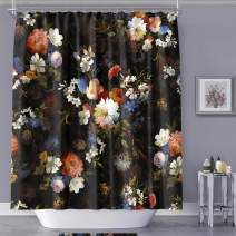 MACOFE Shower Curtain Fabric Shower Curtain Art Print Polyester Fabric,Waterproof, Machine Washable,Hooks Included,Bathroom Decoration Original Design Hand Drawing,71x71inch (Black Flower)