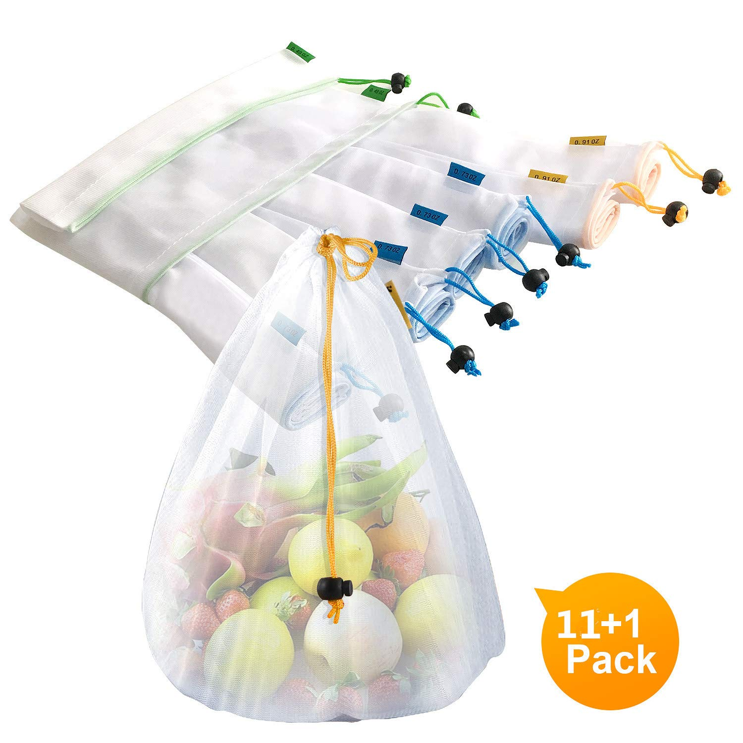 Sfee 12 Pack Reusable Produce Bags and Grocery Shopping Bags, Eco Friendly Lightweight Washable See Through Mesh Produce Bags with Drawstring Tare Weight Tags for Fruit, Vegetable, Fridge, Toys