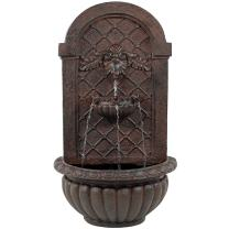 Sunnydaze Venetian Solar with Battery Backup Outdoor Wall Mounted Water Fountain - Outdoor Water Feature with Rechargeable Solar Battery - Weathered Iron - 28-Inch