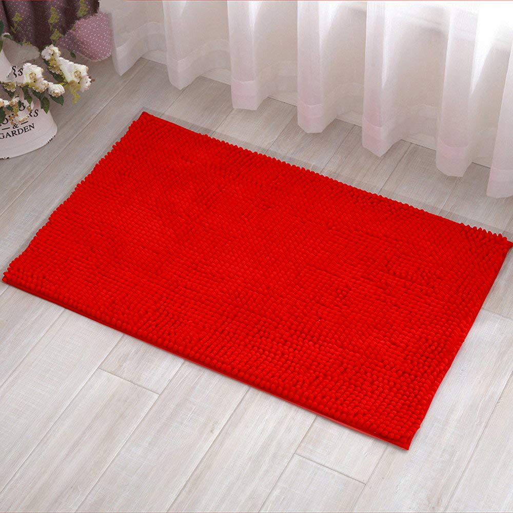 """Eanpet Chenille Bath Mat Non-Slip Microfiber Floor Mat Baby Bath Mat for Kids Ultra Soft Washable Bathroom Dry Fast Water Absorbent Shower Mat Area Rugs (16"""" x 24"""", Red)"""