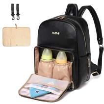 KZNI KMA4 Diaper Bag Backpack Nappy Bag Baby Bags Mom Maternity Diaper Bacpack Unisex Pu Leather Black