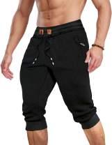 MAGCOMSEN Men's Joggers Sweatpants with Pockets Gym Workout Running Shorts Drawstring Elastic Waist Capri Pants
