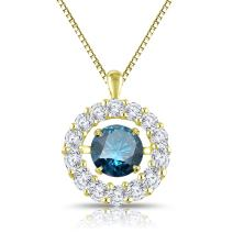 Diamond Wish 14k Gold Dancing in Rhythm Circle Halo Blue Diamond Pendant Necklace (1cttw) with 18-inch Chain