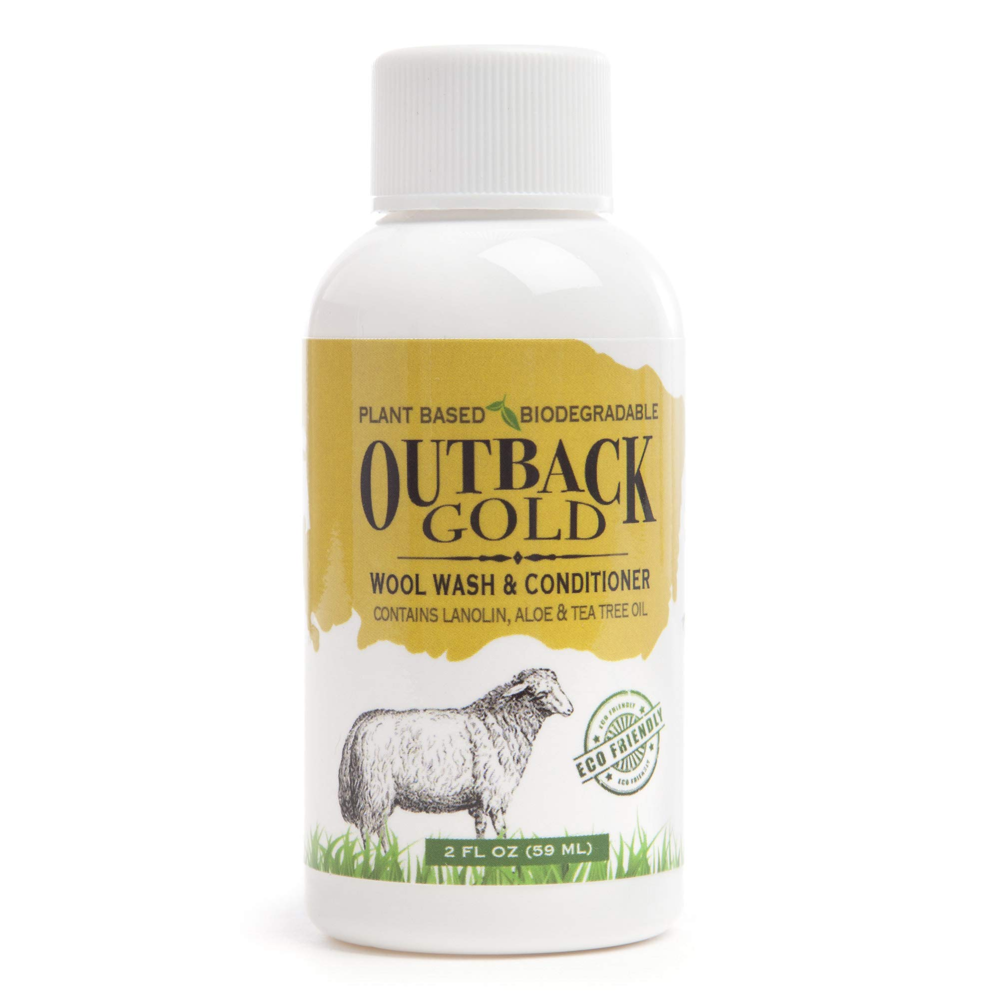 Outback Gold Wool Wash, 2 Ounce, Natural Plant Based Mild Liquid Soap, Cleans and Conditions Sheepskin, Wool and More, with Lanolin, Tea Tree Oil, Aloe, Coconut Oil, Scented with Pure Essential Oils