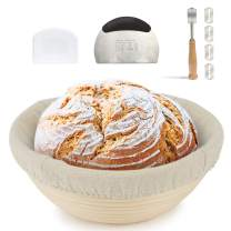 9 Inch Round Bread Banneton Proofing Basket for Sourdough, Bread Proofing Basket + Linen Liner Cloth + Plastic Scraper + Stainless Steel Baking Scraper + Bread Lame for Professional & Home Bakers
