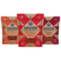UNION Mixed Charcuterie Crisps - Pepperoni, Chorizo and Salami - Whole Earth Snacks - Healthy Food, Keto Snacks, High Protein & Gluten Free - Paleo and Keto Diet Friendly - Pack of Three