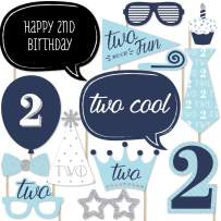 Big Dot of Happiness Two Much Fun - Boy - 2nd Birthday Party Photo Booth Props Kit - 20 Count