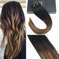 Sunny 20 inch Black Balayage Hair Extensions Clip in Real Human Hair Black Ombre to Brown Mixed Caramel Blonde Full Head Clip in Human Hair 7pcs/120 gram