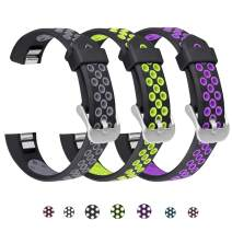 SKYLET Compatible with Fitbit Ace/Fitbit Alta Hr Bands, 3 Pack Soft Breathable Sport Wristbands Compatible with Fitbit Alta Kids Band Men Women(Black-Gray, Black-Green, Black-Purple Small)