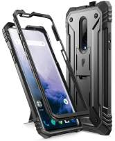 Poetic OnePlus 7 Pro Rugged Case with Kickstand, Full-Body Dual-Layer Shockproof Protective Cover, Built-in-Screen Protector, Revolution Series, for OnePlus 7 Pro (2019 Release), Black