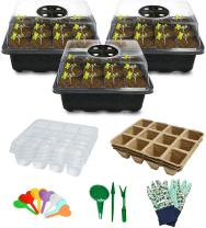 Seed Starter Tray, Biodegradable Seed Starter Kit with Peat Pots & Transparent Germination Tray for Vegetable and Flower Indoor / Outdoor Gardening