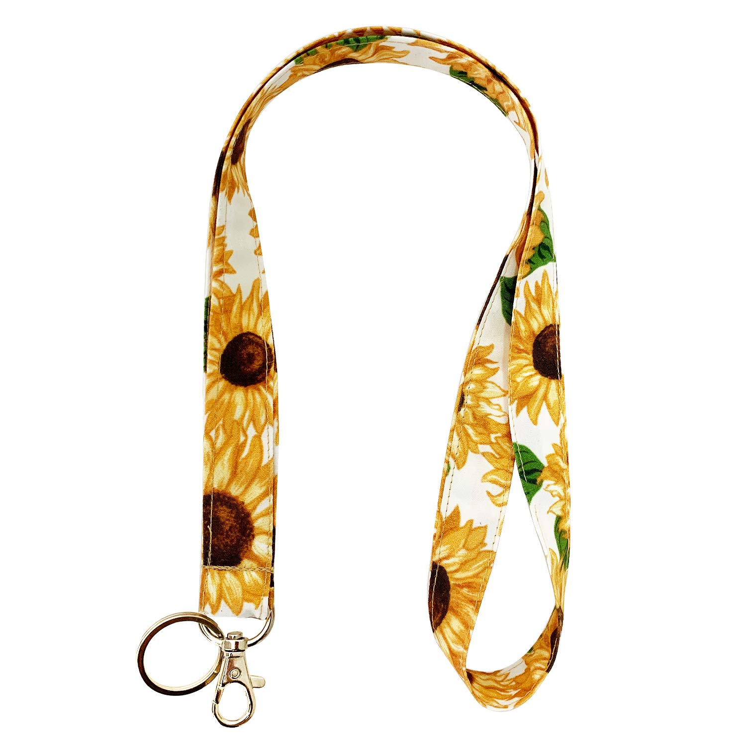 Celokiy Cotton Fabric Sunflower Lanyard Neck Strap with Swivel Lobster Clasp,Cute Boho Floral Baby's Breath Lanyards for Keys,Id Badges,Card Holder,Cell Phone,Keychain,Wallet,Teacher,Women,Girls