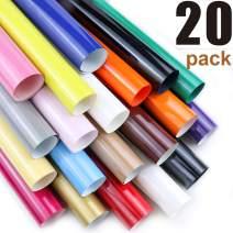 "ARHIKY Heat Transfer Vinyl HTV Bundle: 20 Pack Assorted Colors 12""x10"" Sheets for DIY Iron On T-Shirts Fabrics"