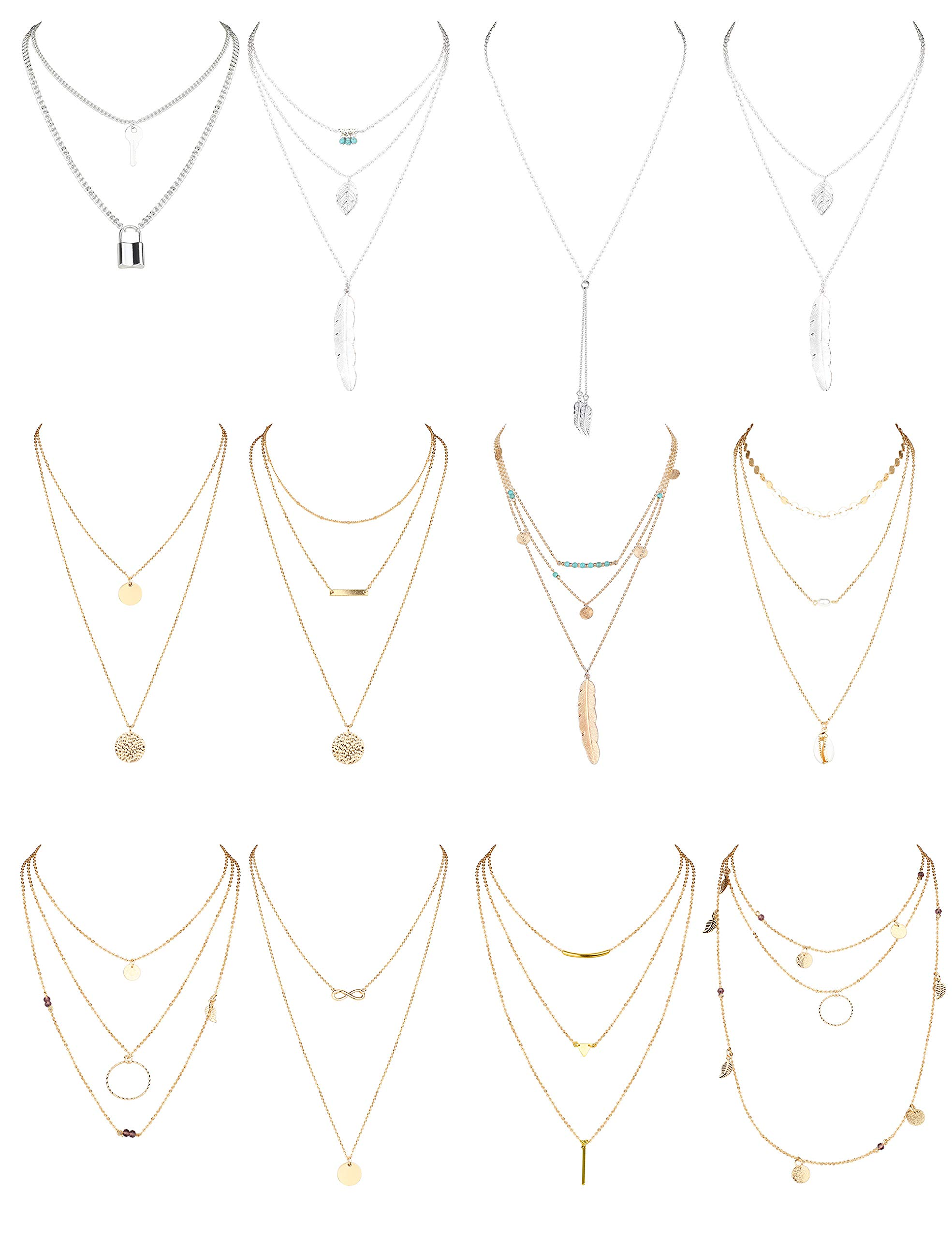 FIBO STEEL 12 PCS Layered Necklace for Women Sexy Long Choker Chain Y Necklace Bar Feather Disc Pendent Necklace Sets Gold & Silver Tone