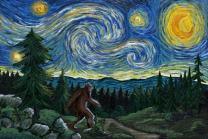 Northwest - Van Gogh Starry Night - Bigfoot 81018 (16x24 Signed Print Master Art Print - Wall Decor Poster)
