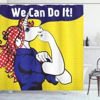 "Ambesonne Unicorn Shower Curtain, Feminist Unicorn Famous Gesture on Polka Dots Setting Strength Humor Image Artwork, Cloth Fabric Bathroom Decor Set with Hooks, 84"" Long Extra, Navy Yellow"