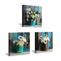 """Rustic Flower Canvas Wall Art: Flower Picture Botanical Art Prints for for Dining Room Bedrooms (12""""x12""""x3pcs)"""