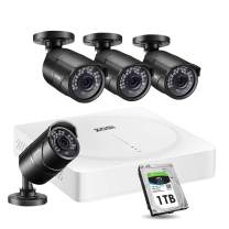 ZOSI 5MP Home Security Camera System Outdoor Indoor, H.265+ CCTV DVR 8 Channel with Hard Drive 1TB and 4 x 2K(5MP) Weatherproof Surveillance Bullet Cameras with 120ft Night Vision, Easy Remote Access