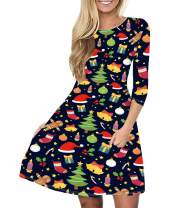 Idgreatim Women's Ugly Christmas Dress Casual 3/4 Sleeve Xmas Gift Swing Party Dress