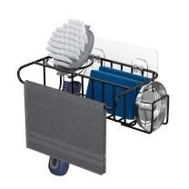 4 in 1 Sponge Holder Sink Caddy, SUS304 Stainless Steel Sink Basket Brush Holder + Dish Cloth Hanger + Soap Rack + Sink Stopper Holder with 2 Installation Ways, No Drilling, Black