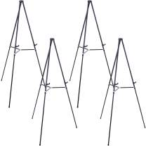 """U.S. Art Supply 66"""" High Showroom Black Aluminum Display Easel and Presentation Stand (Pack of 4) - Large Adjustable Height Portable Floor and Tabletop Tripod, Holds 25 lbs, Paintings, Signs, Posters"""