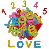 Alphabet Letters and Numbers Foam Stickers (2 Sets) Self-Adhesive Assorted Colors DIY Arts Craft for Kids Greeting Cards Scrapbooking Decoration Home Supplies Letters A-Z Numbers 0-9 (72) Pieces