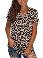 Adreamly Women's V Neck Short Sleeve Animal Print Summer Tops Basic T Shirts