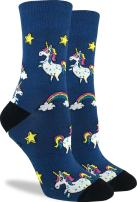 Good Luck Sock Women's Unicorns Crew Socks - Blue, Adult Shoe Size 5-9
