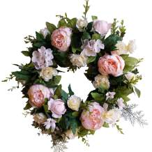 """Pauwer 16.5"""" Peony Flower Wreath Pink Floral Door Wreath with Green Leaves Spring Wreath for Front Door, Wedding, Wall, Home Decor (16.5"""" Pink Peony)"""