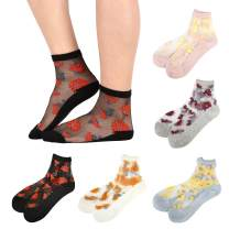 Sheer Mesh Transparent Socks Women - Lace Fishnet See Through Clear Cute Ankle Sock