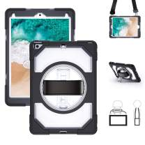 Miesherk iPad 6th/5th Generation Case, Heavy Duty Shockproof Hybrid Armor Protective Case with 360 Rotating Stand & Hand Strap & Shoulder Strap for iPad 9.7 Inch 2018/2017, Clear
