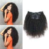 "African American Afro Kinky Curly Clip in Hair Extensions Human Hair Double Weft Top Grade 7A Brazilian unprocessed Virgin Hair Clip ins 7Pieces/set (100g 20"", Natural Black K C)"