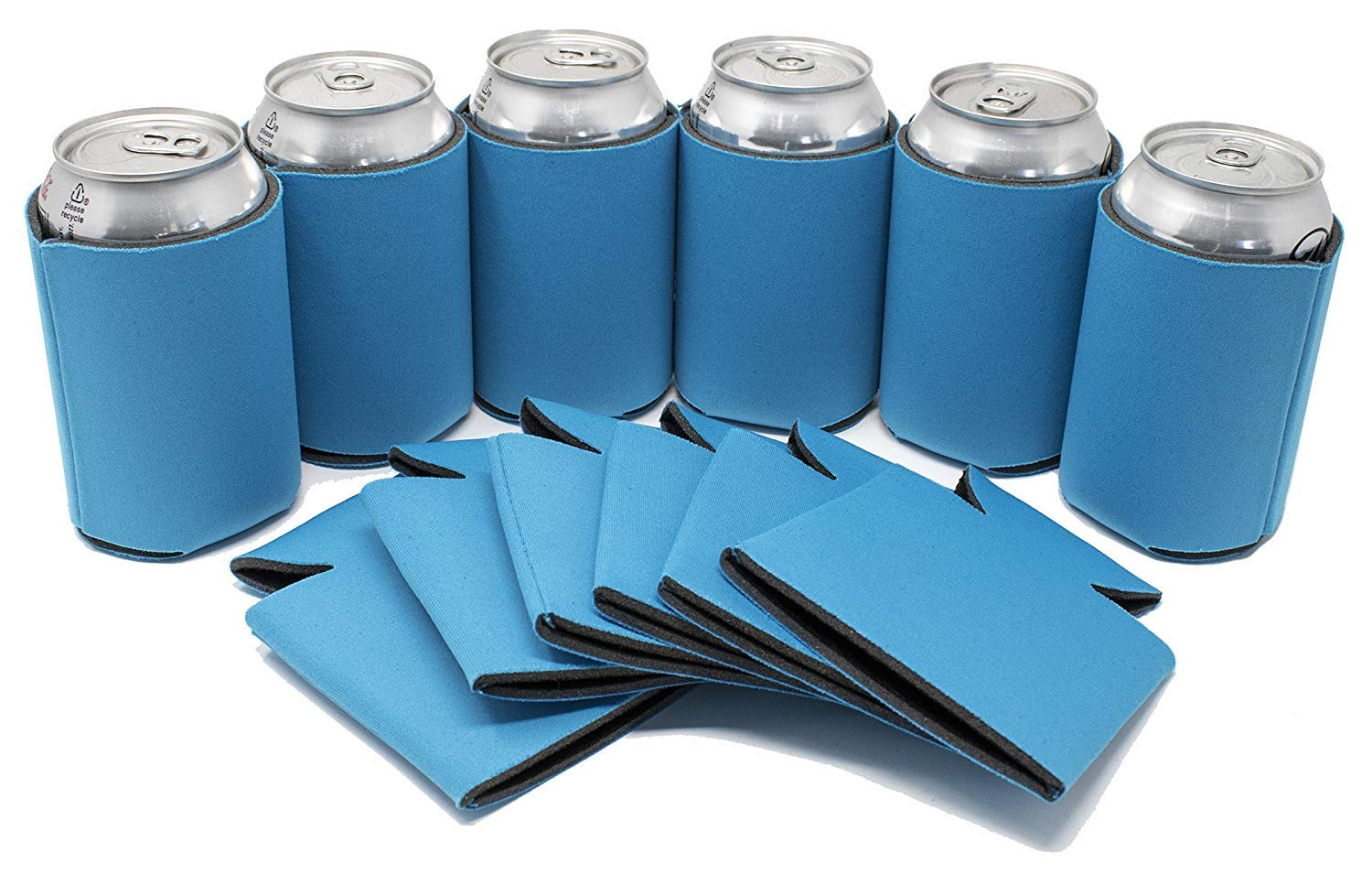 TahoeBay 25 Blank Beer Can Coolers, Plain Bulk Collapsible Soda Cover Coolies, DIY Personalized Sublimation Sleeves for Weddings, Bachelorette Parties, Funny HTV Party Favors (Neon Blue, 25)